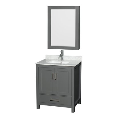 Sheffield 30 Single Bathroom Vanity Set with Medicine Cabinet Top Finish: White Carrara