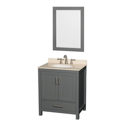Sheffield 30 Single Bathroom Vanity Set with Mirror Top Finish: Ivory