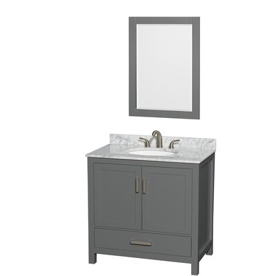 Sheffield 36 Single Bathroom Vanity Set with Mirror Top Finish: White Carrara