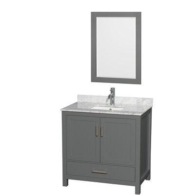 Sheffield 36 Single Bathroom Vanity Set with Mirror Top Finish: White Carrara