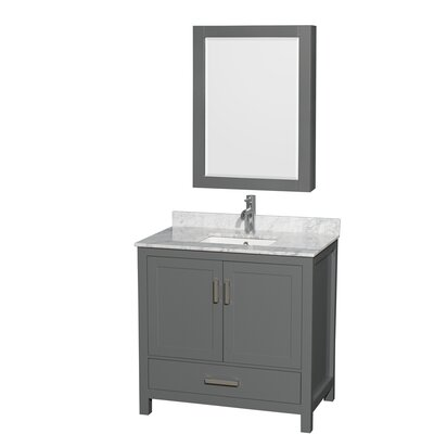 Sheffield 36 Single Bathroom Vanity Set with Medicine Cabinet Top Finish: White Carrara