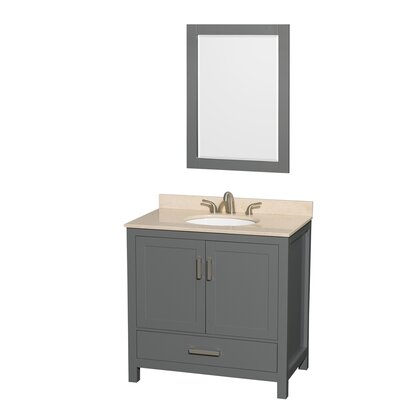 Sheffield 36 Single Bathroom Vanity Set with Mirror Top Finish: Ivory