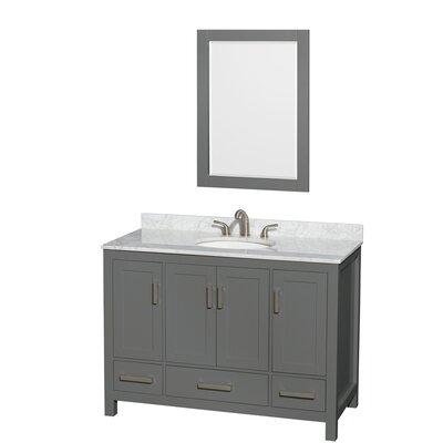 Sheffield 48 Single Bathroom Vanity Set with Mirror Top Finish: White Carrara