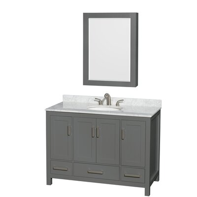 Sheffield 48 Single Bathroom Vanity Set with Medicine Cabinet Top Finish: White Carrara