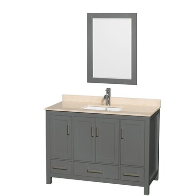 Sheffield 48 Single Bathroom Vanity Set with Mirror Top Finish: Ivory
