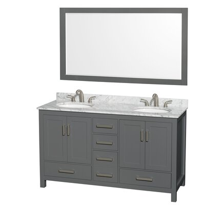 Sheffield 60 Double Bathroom Vanity Set with Mirror Top Finish: White Carrara
