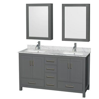 Sheffield 60 Double Bathroom Vanity Set with Medicine Cabinets Top Finish: White Carrara