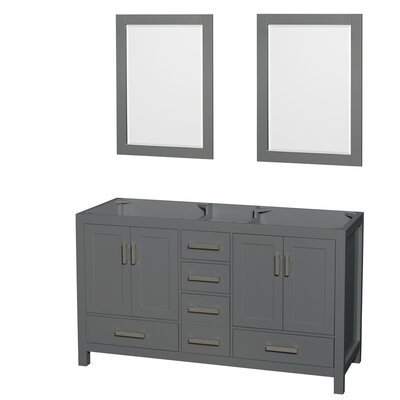 Sheffield 60 Double Bathroom Vanity Base with Mirrors