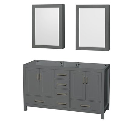 Sheffield 60 Double Bathroom Vanity Base with Medicine Cabinets