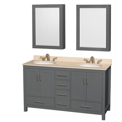 Sheffield 60 Double Bathroom Vanity Set with Medicine Cabinets Top Finish: Ivory