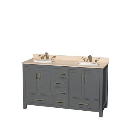 Sheffield 60 Double Bathroom Vanity Set Top Finish: Ivory
