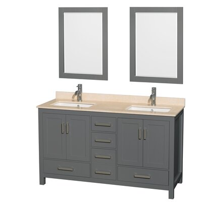 Sheffield 60 Double Bathroom Vanity Set with Mirror Top Finish: Ivory