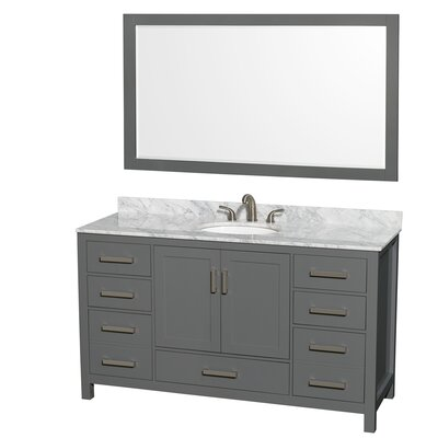 Sheffield 60 Single Bathroom Vanity Set with Mirror Top Finish: White Carrara