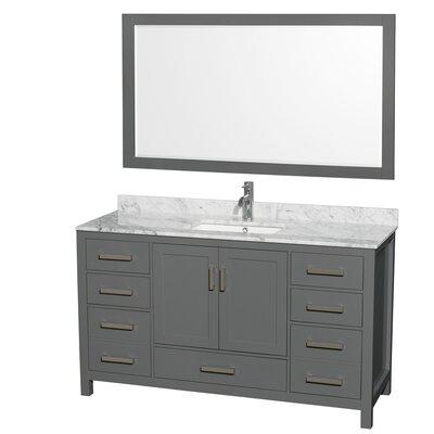 Sheffield 60 Single Bathroom Vanity Set with Mirror Top Finish: White Carrara