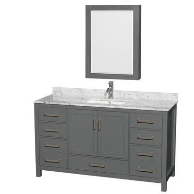 Sheffield 60 Single Bathroom Vanity Set with Medicine Cabinet Top Finish: White Carrara