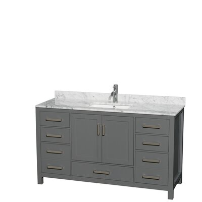 Sheffield 60 Single Bathroom Vanity Set Top Finish: White Carrara