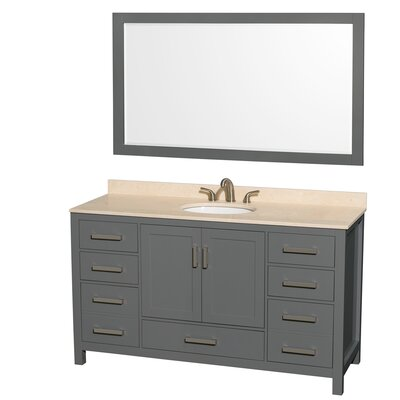 Sheffield 60 Single Bathroom Vanity Set with Mirror Top Finish: Ivory