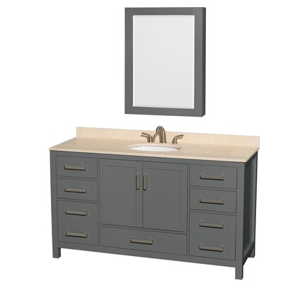 Sheffield 60 Single Bathroom Vanity Set with Medicine Cabinet Top Finish: Ivory