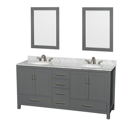 Sheffield 72 Double Bathroom Vanity Set with Mirror Top Finish: White Carrara