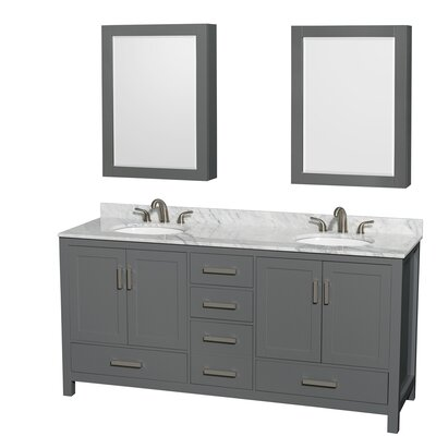 Sheffield 72 Double Bathroom Vanity Set with Medicine Cabinet Top Finish: White Carrara