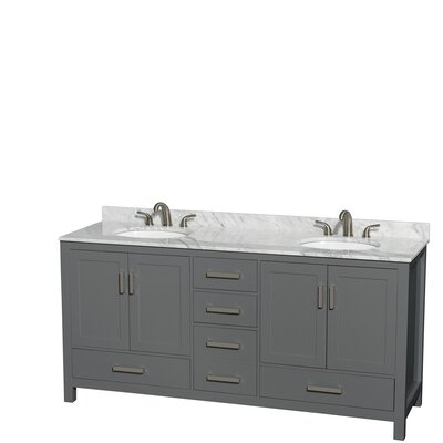 Sheffield 72 Double Bathroom Vanity Set Top Finish: White Carrara