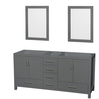 Sheffield 72 Double Bathroom Vanity Base with Mirrors