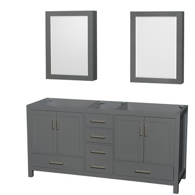 Sheffield 72 Double Bathroom Vanity Base with Medicine Cabinet