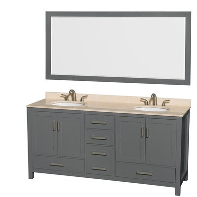 Sheffield 72 Double Bathroom Vanity Set with Mirror Top Finish: Ivory