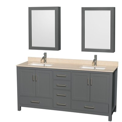 Sheffield 72 Double Bathroom Vanity Set with Medicine Cabinet Top Finish: Ivory