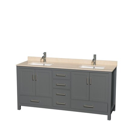 Sheffield 72 Double Bathroom Vanity Set Top Finish: Ivory