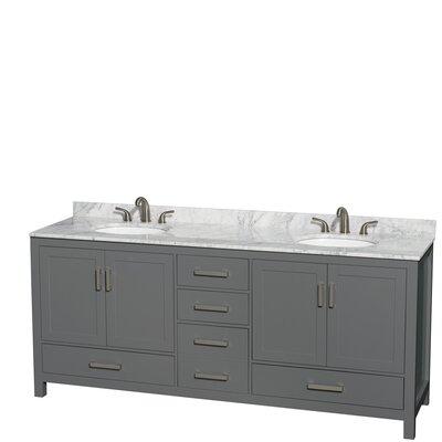 Sheffield 80 Double Dark Gray Bathroom Vanity Set Top Finish: White Carrara