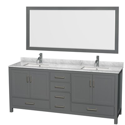 Sheffield 80 Double Bathroom Vanity Set with Mirror Top Finish: White Carrara