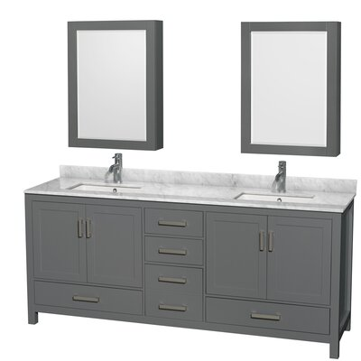 Sheffield 80 Double Bathroom Vanity Set with Medicine Cabinet Top Finish: White Carrara