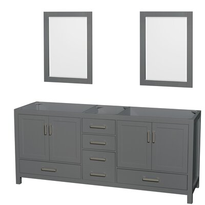 Sheffield 80 Double Bathroom Vanity Base with Mirrors