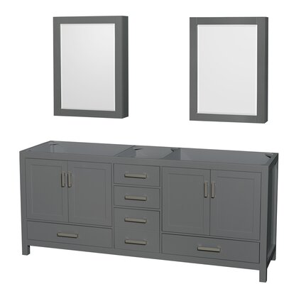 Sheffield 80 Double Bathroom Vanity Base with Medicine Cabinets