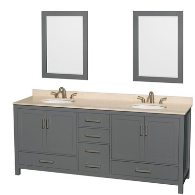 Sheffield 80 Double Bathroom Vanity Set with Mirror Top Finish: Ivory
