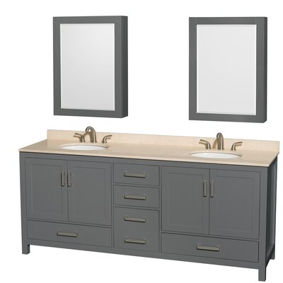 Sheffield 80 Double Bathroom Vanity Set with Medicine Cabinet Top Finish: Ivory