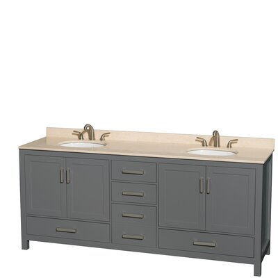 Sheffield 80 Double Dark Gray Bathroom Vanity Set Top Finish: Ivory
