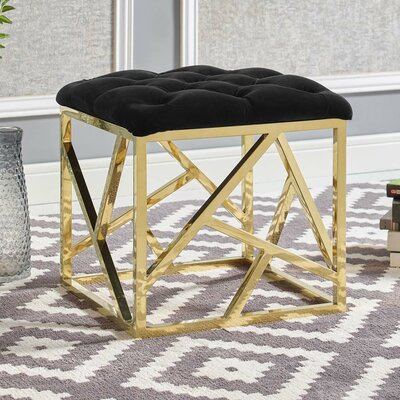 Keitt Ottoman Upholstery: Gold, Finish: Black