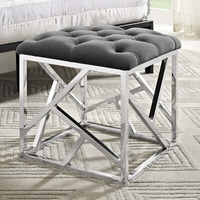 Keitt Ottoman Upholstery: Silver, Finish: Silver