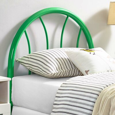 Crider Twin Open Frame Headboard Color: Green