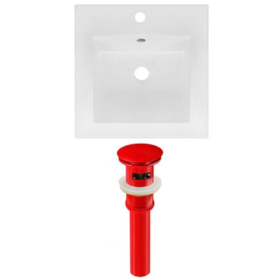 Ceramic Square Drop-In Bathroom Sink with Faucet and Overflow Drain Finish: Red