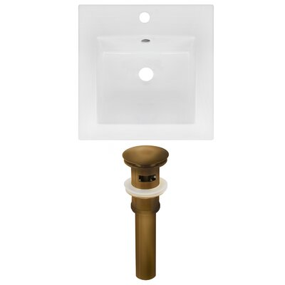 Ceramic Square Drop-In Bathroom Sink with Faucet and Overflow Drain Finish: Brown