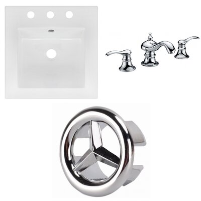 Ceramic Square Drop-In Bathroom Sink with Faucet