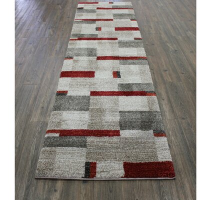 Wootton Brown/Beige/Red Area Rug