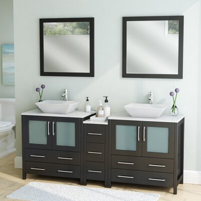 Karson Framed 72 Double Bathroom Vanity Set with Mirror Base Finish: Espresso