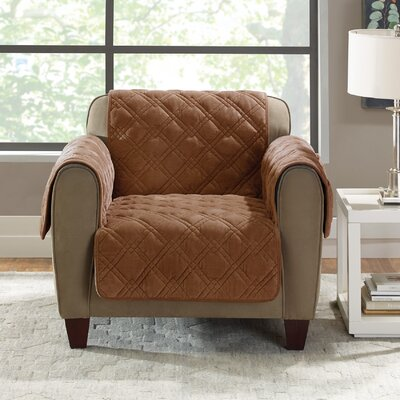 Plush Comfort Armchair Slipcover Color: Brown