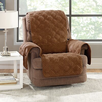 Plush Comfort Recliner Slipcover Color: Brown