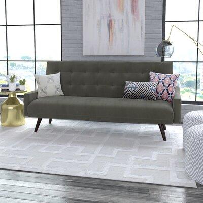 Oakland Click Clack Futon Sofa Bed in Velvet Upholstery: Mink Gray