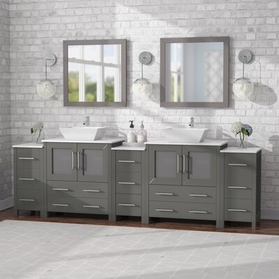 Karson 96 Double Bathroom Vanity Set with Mirror Base Finish: Gray
